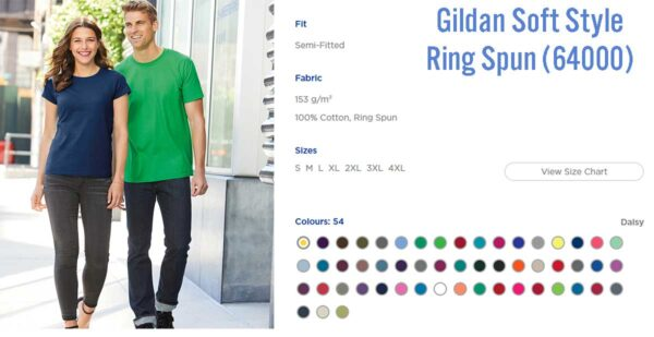 Best-garments-for-t-shirt-printing,-Guide,-Gildan-soft-style-64000