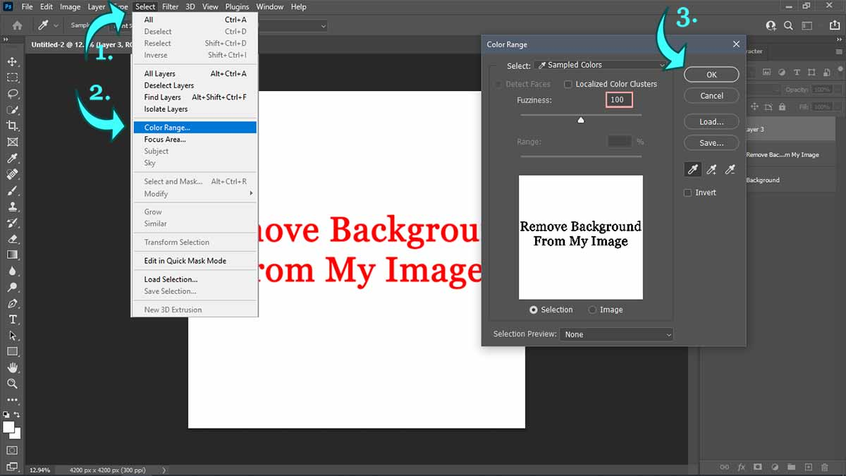 Background-removal,-color-range-tool